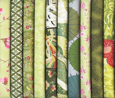 10 Green Asian Japanese Fat Quarters II (2 1/2 Yds)