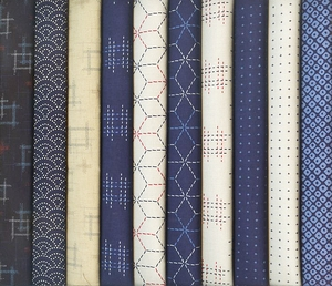 10 Kasuri Indigo Fat Quarter Bundle - 2 1/2 Yards