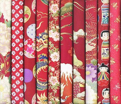 10 RED ASIAN FAT QUARTERS #18 (2 1/2 Yds.)