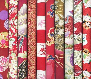 10 RED ASIAN FAT QUARTERS #19