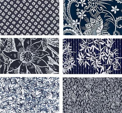 6 Indigo Katagami Fat Quarter Collection - 1 1/2 Yds