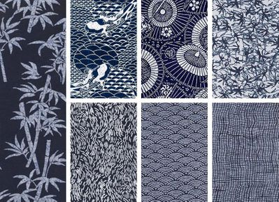 7 Indigo Katagami Fat Quarter Collection