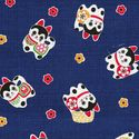 Adorable Japanese Folk Toy Dog Design (�Inu Hariko�): Navy Blue