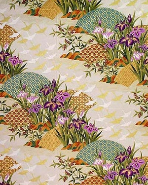 Asian Dreamscape of Iris Garden - Natural/Gold Metallic - BTY