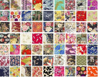 "NEW YEAR SPECIAL! Asian Fabric Charm Pack  - Set of 40 - 5"" x 5"""