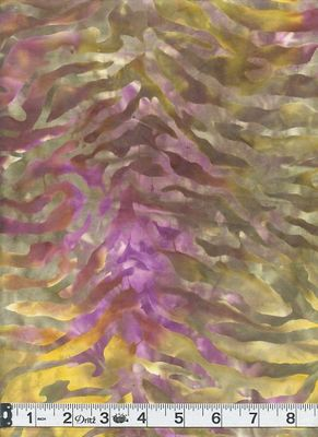 BATIK - Waves: Orchid, Moss Green, Brown, Sun Yellow