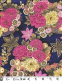 BEAUTIFUL GILDED ASIAN BLOSSOMS: Navy Blue
