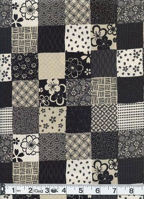 Blocks of Japanese Designs - Black, Gray, Cream
