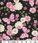 Butterflies & Cherry Blossoms with Gold Metallic: Black Cotton Crepe