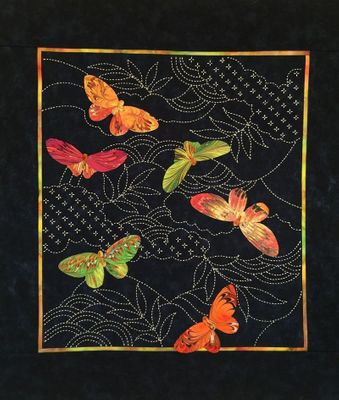 "BUTTERFLIES: Sashiko Kit - 22 1/2"" x 24 1/2"" Wall Quilt"