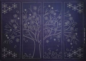 CHERRY BLOSSOM TREE - BEST SELLING - Sashiko Panel