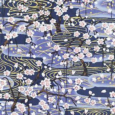 CHERRY BLOSSOM TREES IN THE SPRING: Blue with Gold Metallic