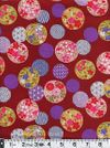 Circles of Traditional Japanese Flowers & Patterns - Burgundy Red