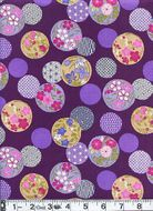 Circles of Japanese Flowers & Patterns - Purple