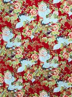 Cranes in Floral Garden - Red & Gold Metallic