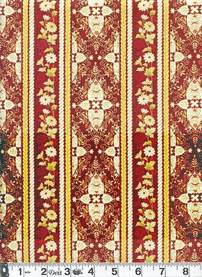 DELICATE STRIPED FLORAL: Burgundy Red