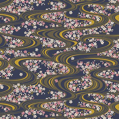 Floating Cherry Blossoms - 'Koi' HYAKKA RYORAN - Navy/Gold Metallic