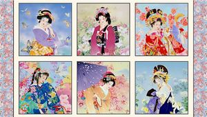 "GEIKO: Geisha Blocks - Cream - 24"" x 44"" Panel"