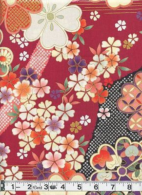 HANA ZUKUSHI - Cherry Blossoms - Red/Gold