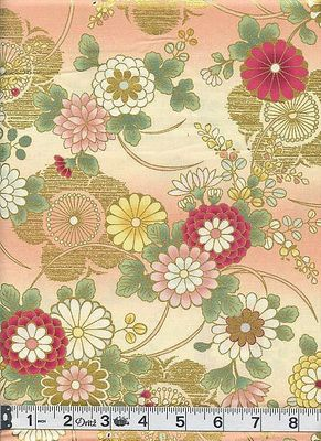HANA ZUKUSHI - Mum & Plum Blossoms - Cream/Gold