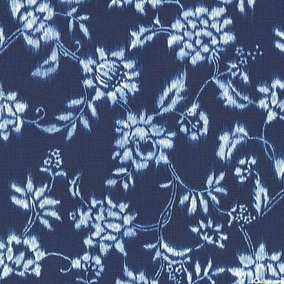 Indigo Blue Floral Vines