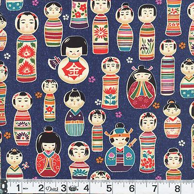 "JAPANESE DOLLS ""Kokeshi"" - Navy Blue"