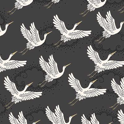 KIMONO Collection - Cranes - Charcoal/Gold Metallic