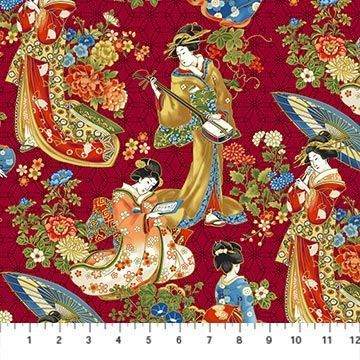 KYOTO GARDEN: Geisha Collage - Red/Gold