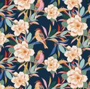 MAGNOLIA BLOSSOMS & SONG BIRDS - Navy