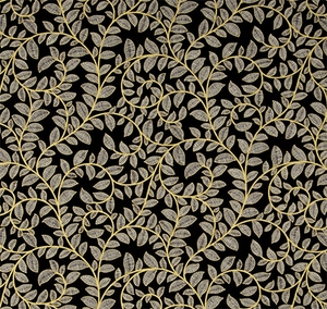 Metallic Leaf Scroll - Black/Gold Metallic