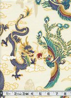 MYTHICAL CHINESE DRAGON & PHOENIX: Beige - BTY