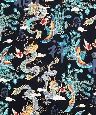 MYTHICAL CHINESE DRAGON & PHOENIX: Black - BTY