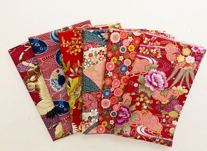 6 RED Fat Quarter Asian Collection