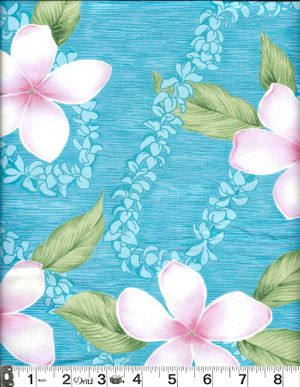 PLUMERIA BLOSSOMS: Turquoise - BTY