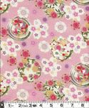 Flower Balls with Gold Metallic : Pink 100% Embossed Cotton Crepe