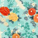 MICHIKO COLLECTION: CRANES IN FLORAL GARDEN - Turquoise