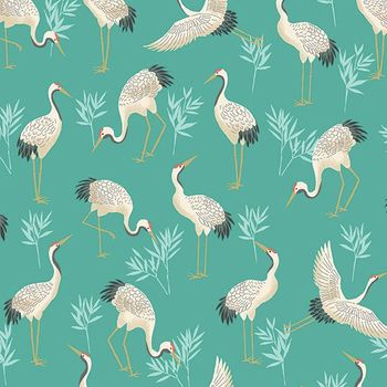MICHIKO COLLECTION: CRANES IN BAMBOO GARDEN: Turquoise