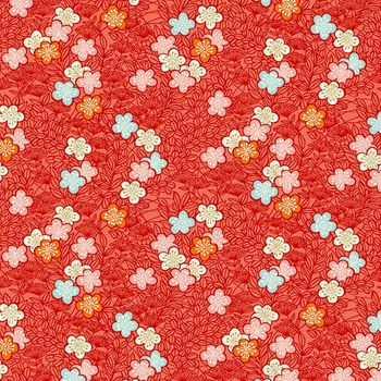 MICHIKO COLLECTION: PLUM BLOSSOMS ADRIFT - Red