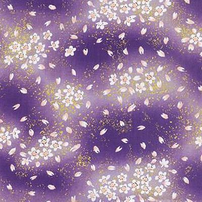 CHERRY BLOSSOMS ADRIFT: Lavender with Gold Metallic