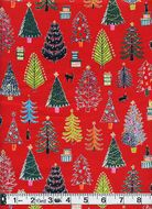 Charming Christmas Trees - Red with Gold Metallic