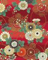 HANA ZUKUSHI - Mum & Plum Blossoms - Red/Gold