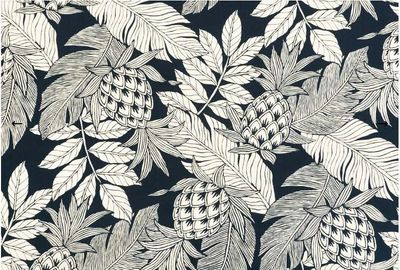 BEAUTIFUL TROPICAL FABRIC: Navy Blue - BTY