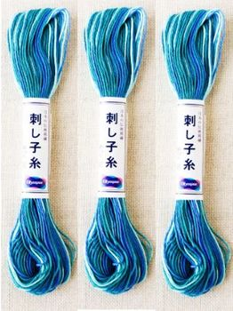 SASHIKO THREAD - Variegated Blue-Turq - 40 M Skein