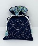 SASHIKO KIT: Seven Treasures Drawstring Bag (Kinchaku)