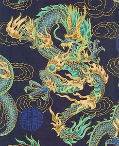 FIRE BREATHING DRAGONS: Navy Blue (BTY)