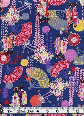 Iconic Symbols of Japanese Beauty - Geisha, Fans, Wisteria - Blue