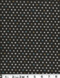 COLORED DOTS: Cotton Dobby - Black