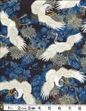 CRANES IN FLORAL GARDEN: Navy Blue & Gold