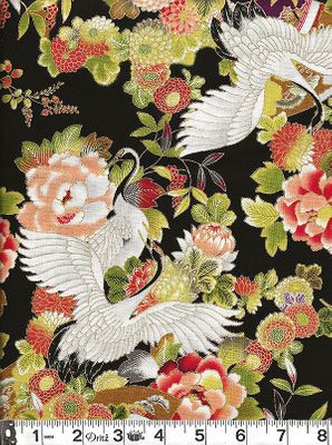 CRANES IN FLORAL GARDEN: Black & Gold Metallic
