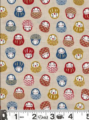 DARUMA DOLLS: Beige with Gold Metallic